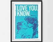Star Wars, Print, Inspired, Print, Hand and Leia, Kiss  BLUE, Star Wars Print, Star Wars Poster