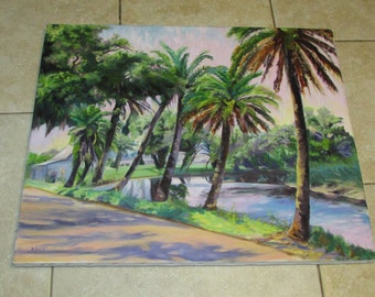 Beautiful Oil Painting on Canvas Palm Trees Tiki Decoration