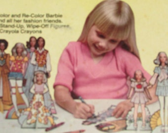 Vintage 1970s BARBIE Paper Dolls COLORFORMS Mint in Box with Crayons Fluff Christie Ken Skipper Francie Kelley PJ