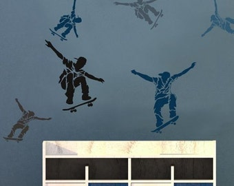Skateboarders 2-Piece Kit - Size: Small - Easier than Wall Decals - Perfect for a Kids Bedroom