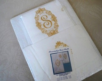 "Vintage Home Bathroom Towel Set Monogram ""S"" Towels NOS Terry Towels 1960 Decor"