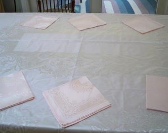 Vintage Home Decor Linens Damask Pink Tablecloth Napkin Set Japan