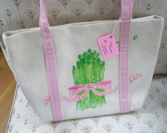 Vintage Bag Tote Hand Painted Small Canvas Project Tote