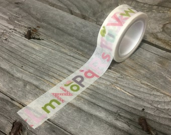 Washi Tape - 15mm - Pink Green Alphabet on White - Deco Paper Tape No. 1145