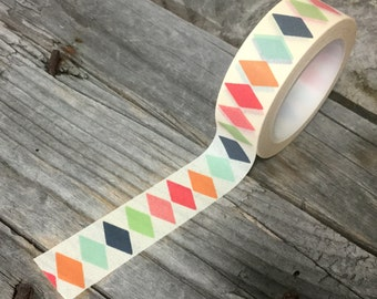 Washi Tape - 15mm - Colorful Harlequin Pattern Design on Cream - Deco Paper Tape No. 409