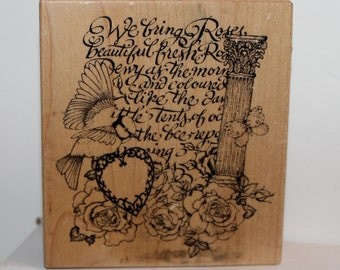 The Montage Collection We Bring Roses heart bird butterfly PSX Rubber Stamp