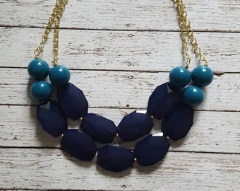 Navy Blue and Teal Chunky Statement Bib Necklace...Purchase 3 or more get 10% off
