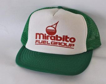 Vintage Baseball Cap 80s Mesh Trucker Hat Kelly Green Mirabito Fuel Group New York Ny Snapback
