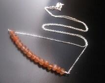 Sunstone Necklace, Minimalist Sunstone, Sterling Silver Chain, Sunstone Pendant, Sunstone Bead, Sunstone Bar Necklace, Minimalist Jewelry