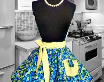 Handmade woman's half apron in blueberries theme, On Sale, kitchen, hostess, retro, fruit, blue, pin up, kitchy