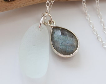 Pale Seafoam Seaglass Necklace. with Labrodorite Gemstone Charm, Sterling Silver Chain, Frosted Beach Glass, Beachy, Upcycled,