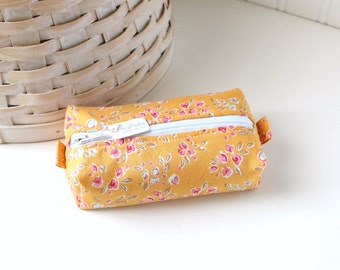 Small Boxy Pouch Yellow Floral Coin Purse Floral Change Purse Credit Card Holder