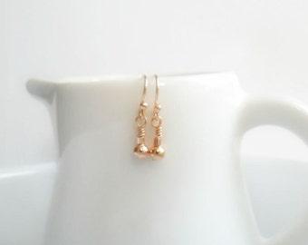 Delicate Rose Gold Earrings / Dangle earrings / Minimal Simple Jewelry / Trendy earrings / Modern everyday earrings  Bridesmaid gift for Her