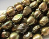 Thyme Green 4mm to 5mm Flat Sided Baroque Freshwater Pearls 15.5 inches (39cm)