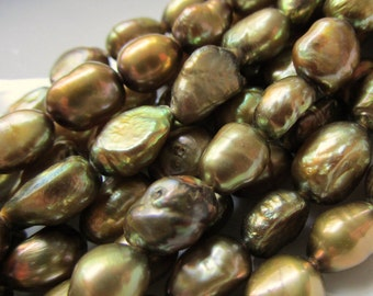 Thyme Green 4mm to 5mm Flat Sided Baroque Freshwater Pearls 7.5 inches (19cm)