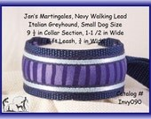 """Jan's Martingales, Navy Blue Collar Leash Combination Walking Lead,  Italian Greyhound, Small Dog Size,  Invy090, 9 1/2"""" Collar Section"""