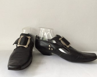 Vintage 80s Punk John Fluevog 1980s RARE Black Leather Square Toed Large Silver Buckle Silver Detail Size 7 1/2 8 British Shoes Mod