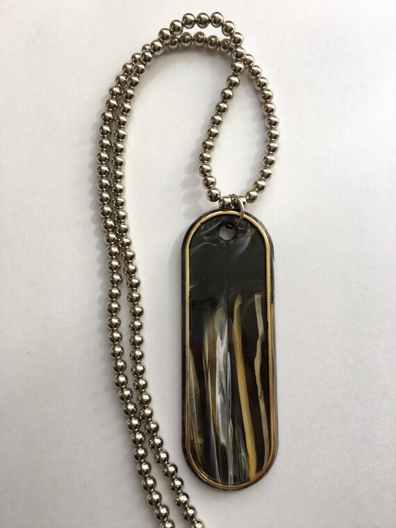 Acrylic oversized dog tag necklace