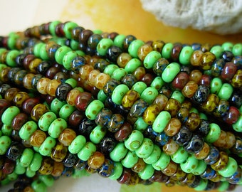 """Aged Picasso Seed Beads, Czech Seed Beads, 8/0- Mosaic Aged Picasso Mix (3/19.5"""") #402"""