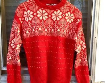 Red Wool Ski Sweater // Vintage