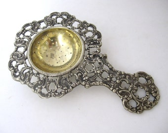 Antique Tea Strainer, Ornate Design, Vintage Italy Tea Caddy Caddie
