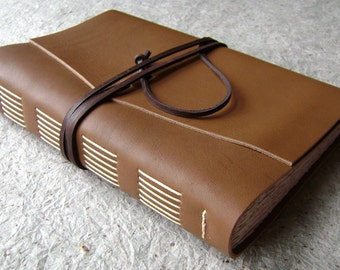 "Large Leather Journal, 6""x 9"",  caramel brown, handmade journal by Dancing Grey Studio(1414)"