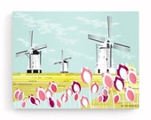 Dutch Canvas Wall Art, Canals Windmills and Tulips, Landscape Framed Print, Countryside, illustration, Ready to Hang, Art for home DTWCP01