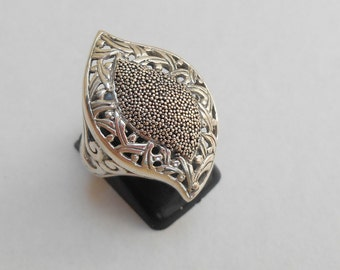 Balinese Sterling Silver granulation technique ring / silver 925 / Bali handmade jewelry / Size: 8 ready to ship