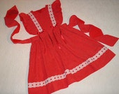 Ready to Ship.  Size 6 Dress or Jumper in Red dotted Swiss with eyelet trim.