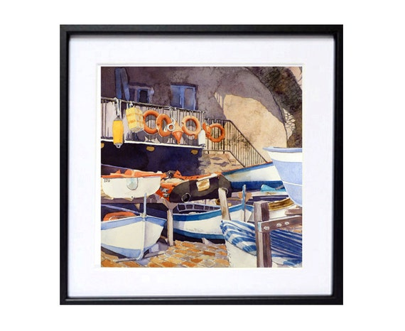 Italian Boat Dock Art,  Giclee Print,  Watercolor painting,  Manarola Italy romantic love,  Nautical art sea ocean,  Travel boats,