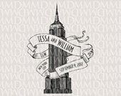 Empire State Building New York Custom City Wedding Monogram - Wedding Logo - Wedding Crest