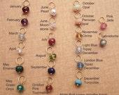 Tiny Birthstone charm -  Genuine gemstone bead dangles - Gold birthstone - Your choice of one birthstone charm add on