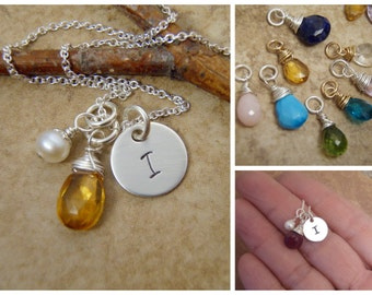 Initial and birthstone necklace - November Birthstone jewelry - Pearl and initial - Your choice of Birthstone - Sterling Silver necklace