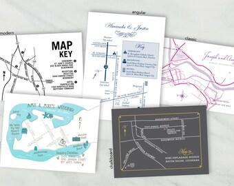 Custom Wedding Map Printable - Modern, Hand Drawn, Angular, Classic or Chalkboard Style