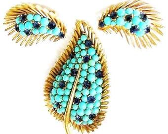 Trifari Aqua and Sapphire Blue Feathered Leaf Brooch and Earring Set