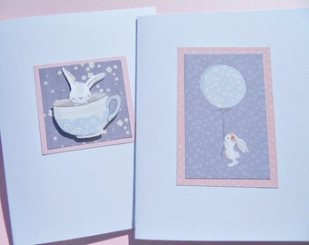 Children's Birthday Cards - Bunny Birthday Cards - Welcome Baby Card - Baby Shower Cards - New Baby Cards - Balloon Cards - pbc1