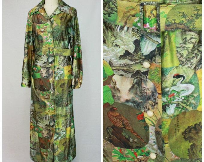 Art Print 70s Maxi Dress / Printed 70s Boho Dress / Gucci Style 70s Dress / Silky 70s Shirtdress / Belted Printed Dress / Asian Print Dress