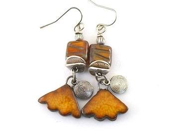 Burnt Orange Rustic Ceramic Earrings, Ceramic Earrings, Silver Earrings, Boho Earrings, Artisan Earrings, Antique Silver, Stoneware -AE192