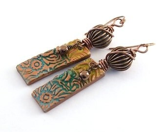 Teal and Yellow Earrings - Copper Earrings - Antique Copper - Lightweight Earrings - Boho Earrings - Artisan Earrings - Polymer - AE048