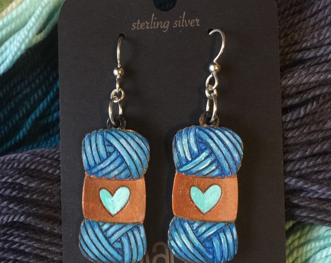 Hand painted skeins of yarn earrings. Custom colors available.