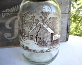 Vintage Currier and Ives Winter Scene Large 3L Glass Canister Brown Screw Top Cap