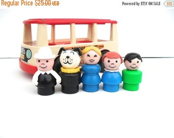 FALL SALE Vintage Fisher Price Little People Group of 5 Figures and Mini Bus
