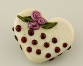 Lampwork Glass Bead, White Chocolate Heart with Roses,  Ivory Candy Focal Hearts SRA