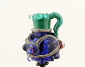 Hollow Lampwork Glass Bead, Mini Urn Focal, Vessel Bead, Blue, Green