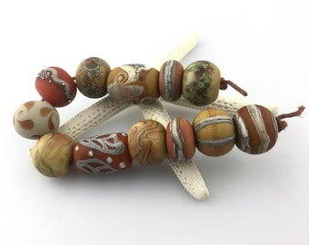 Lampwork Beads Set  Organic, Etched Matte, Brown, Rust, Ivory, Silver