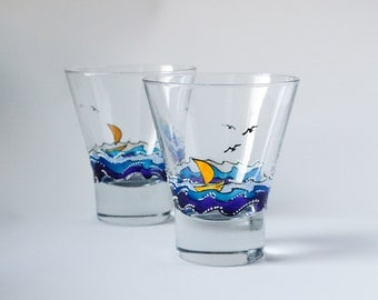 Yellow sail glass - hand-painted short glass
