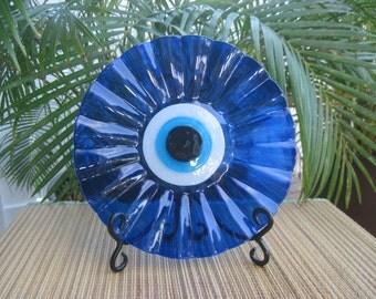 Gods Eye Evil Eye Fused Glass Plate