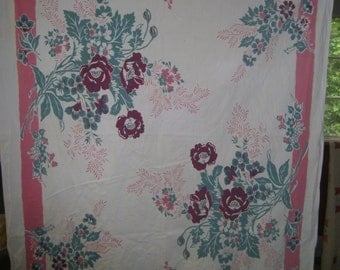 1950s PRINT KITCHEN TABLECLOTH - Purple Poppies