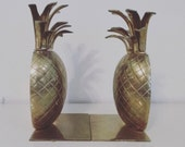 Lovely Brass PIneapple Bookends Palm Beach Regency