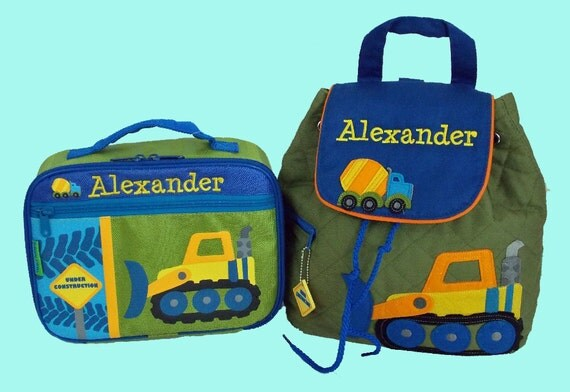 Child's Personalized Stephen Joseph CONSTRUCTION Backpack and Lunchbox School Set-Monogramming Included